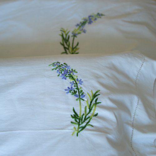 """Hand Embroidered Lavender Flower Duvet Cover Queen 98X96"""" ~ kinche Fav!"""