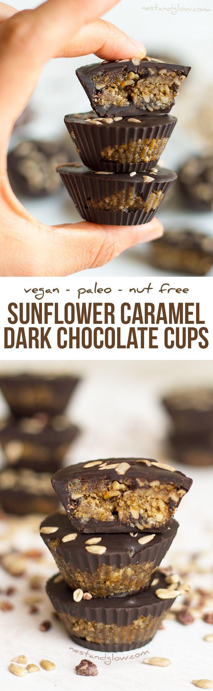 Sunflower Caramel Dark Chocolate Cups Recipe - Nut-free, Paleo and Dairy-free via @nestandglow