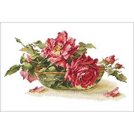 """Roses In Tea Bowl Counted Cross Stitch Kit, 10.5"""" x 6.75"""", 16 Count"""