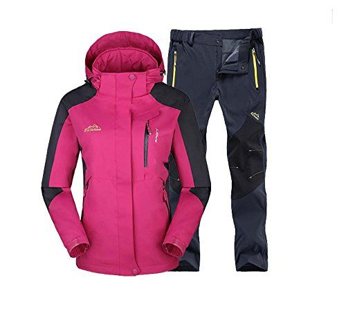 Women Winter Jacket and Trousers Ladies Waterproof Jacket Coat Hoodies Sports Outerwear Tracksuit Cycling Suit Set Hiking Running Camping Breatable