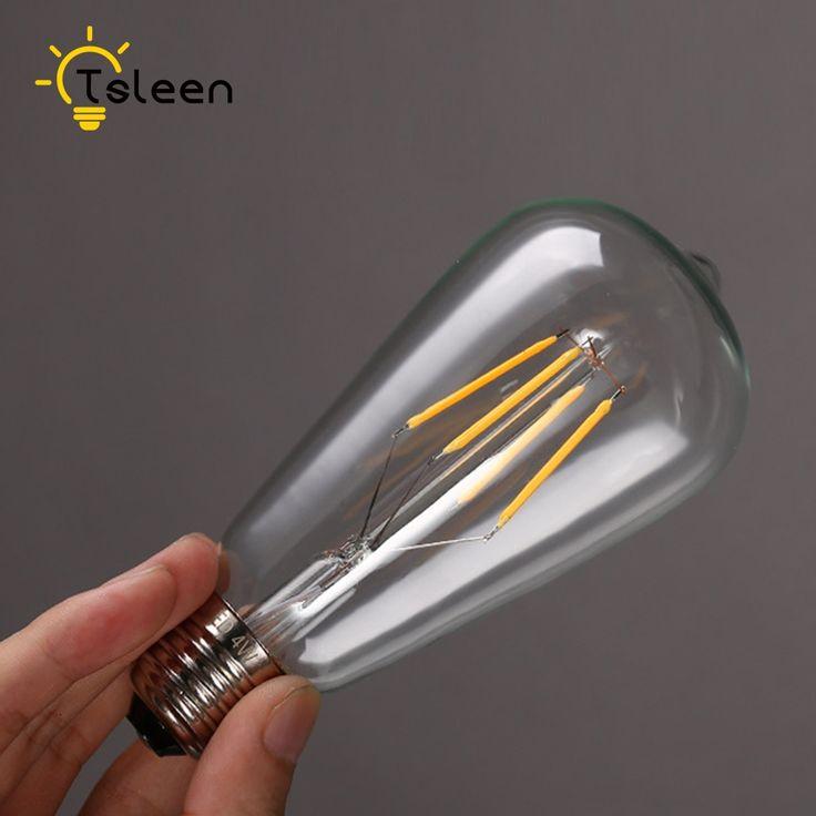 On sale+Led Ampul+ 1PC E27 4/8/12/16W Gold/Transperent White Retro Edison Filament COB LED Bulb Vintage Ball Light ST64 Lamps #Affiliate