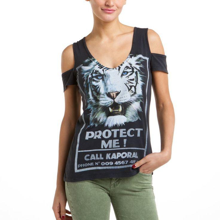 T-shirt épaules nues motif léopard Belmae femme KAPORAL