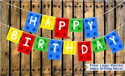FREE Lego Blocks Happy Birthday Banner