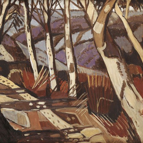 "Margaret Preston ""Aboriginal Landscape"" 1941, Margaret travelled to NT and realised that aboriginal art expressed concept and place - the spiritual connection to and knowledge of country"