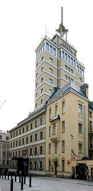Hotel Torni, Helsinki, Finland, designed by architects Jung & Jung in 1928 with 14 stories. The hotel served the needs of air defense during the 2nd World War; members of the Finnish women's paramilitary organization Lotta Svärd kept watch for enemy bombers. Immediately after the cessation of the war, Hotelli Torni served as the HQ of the Allied Control Commission monitoring Finnish compliance with the obligations of the Moscow Armistice. Known as a center of culinary excellence.