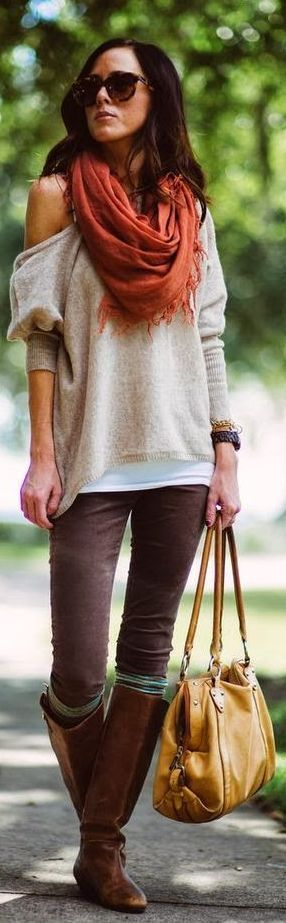 Cream Sweater with Scarf, Brown Jeans and Brown Long Boots