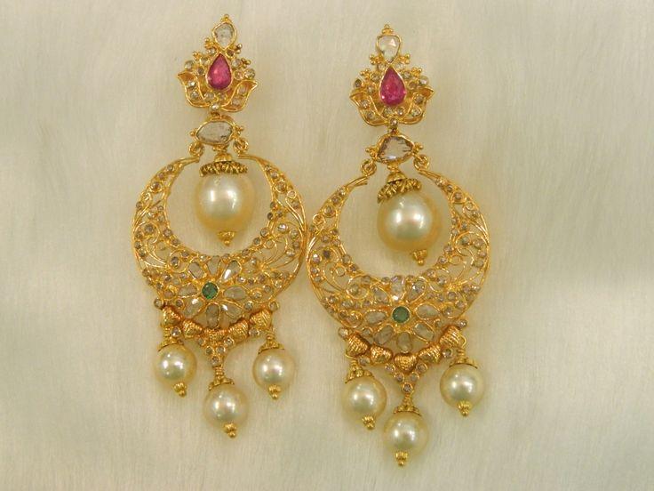 Earrings / Jhumkis / Chandbali - Gold Jewellery Earrings / Jhumkis / Chandbali (ERJJHKCH64) at USD 1,515.42 And GBP 1,215.96