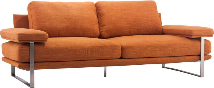 Zuo Modern 900625 Jonkoping Sofa Color Orange Brushed Stainless Steel Finish