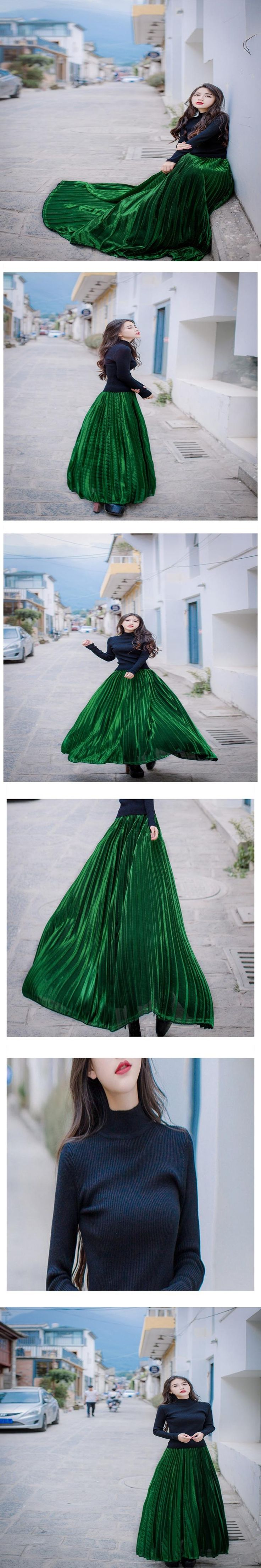 High-necked Knit Shirt + Metal Shiny Pleated Skirt Two-piece skirt Set 2016 Winter