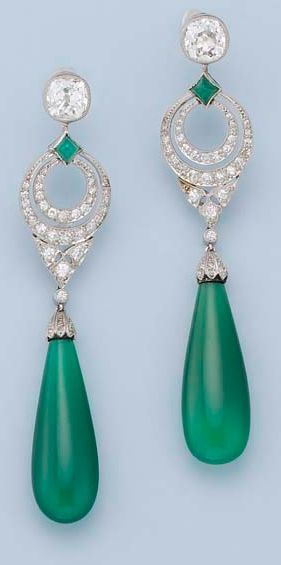 A PAIR OF ART DECO DIAMOND AND CHRYSOPRASE EARRINGS Each designed as a collet-set cushion-shaped diamond to the chrysoprase and diamond-set double-hoop openwork surmount, suspending a drop-shaped chrysoprase pendant, millegrain setting, circa 1925.