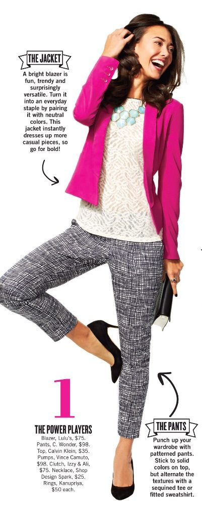 bright jacket & patterned pants