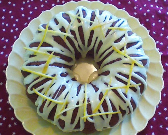 Lemonade Bundt Cake is made with yellow summer squash (crookneck, patty pan, or zucchini). The same recipe can be used to make 2 loaves in bread pans!