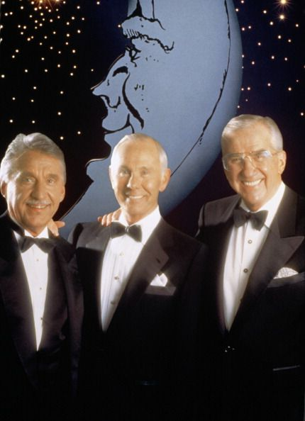 Band leader Doc Severinsen host Johnny Carson cohost Ed McMahon