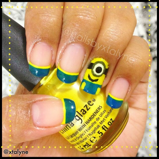 In celebration of the minions! Re-created @cutepolish Despicable Me nail art