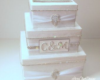 Card Box Damask Wedding Card Holder Custom by LaceyClaireDesigns