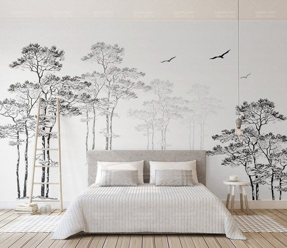3D Black White Abstract Forest Birds Removable Wallpaper,Peel and stick Wall Mural, Floral, Wall Art,Wall Decal,Kids,Nursery,Wall Sticker 12   – paint