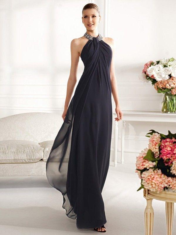 A-Line/Princess Halter Sleeveless Pleats Floor-Length Chiffon Dresses