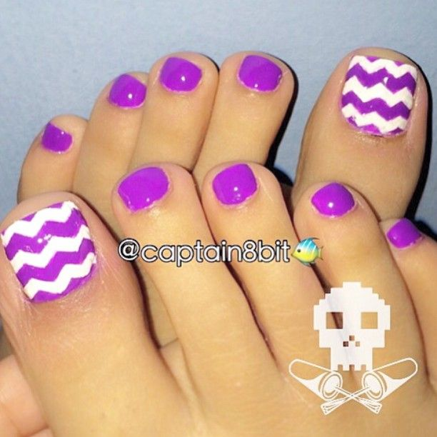 "Instagram media captain8bit - since summer is back, i have had the urge to just chevron the frick outta my pedicures, lol. i used to do them a lot last summer, & i'll do 'em again! this is @chinaglazeofficial ""plur-ple"" & holy hell, is this not the most perfect neon purple you've ever seen?!  i love it to pieces. it's not too dark & it's not too light. & these freehand chevrons were killing me.  i think they look bad because i painted them & i saw each & every line i did. but from..."