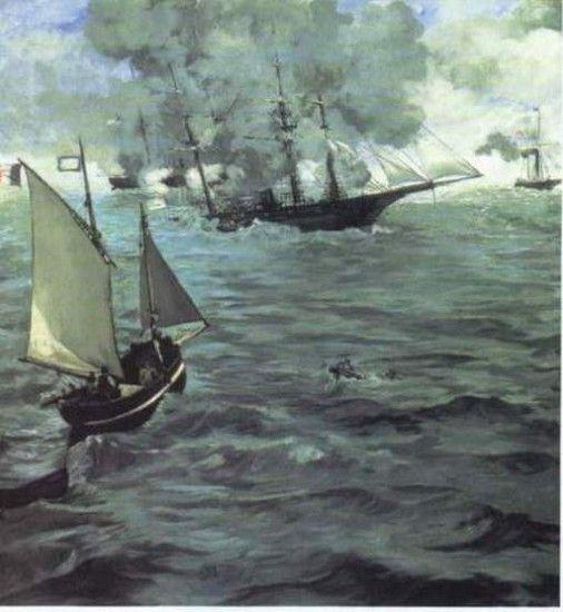 Édouard Manet, IL COMBATTIMENTO TRA IL KEARSARGE E L'ALABAMA, 1865, 1,34 m x 1,27 m, Colore ad olio, Philadelphia Museum of Art