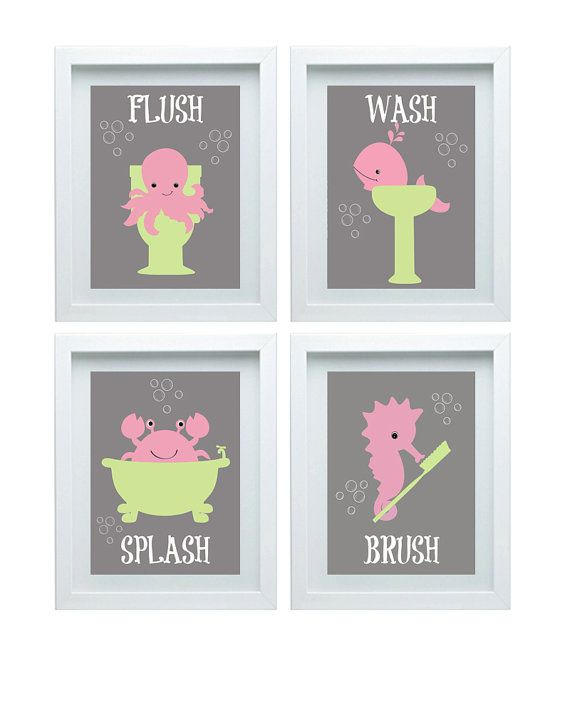 Girl Bathroom Decor Bathroom Rules Set Of 4 8X10 Kids Pink Bathroom Wall  Art Choose