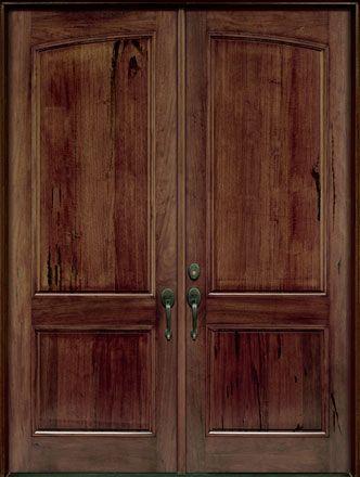 Andean Walnut Solid Wood Front Entry Door   Double
