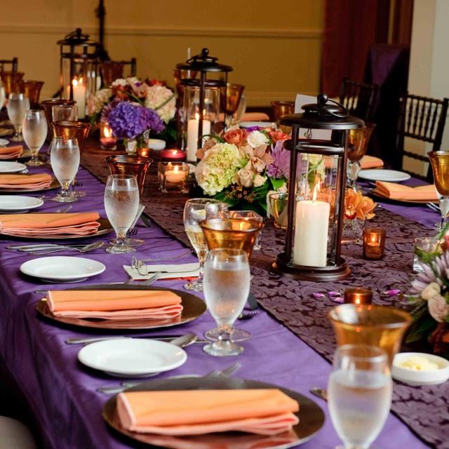 eggplant table cloth pumkin orange napkin ceremony reception decor pinterest napkins. Black Bedroom Furniture Sets. Home Design Ideas