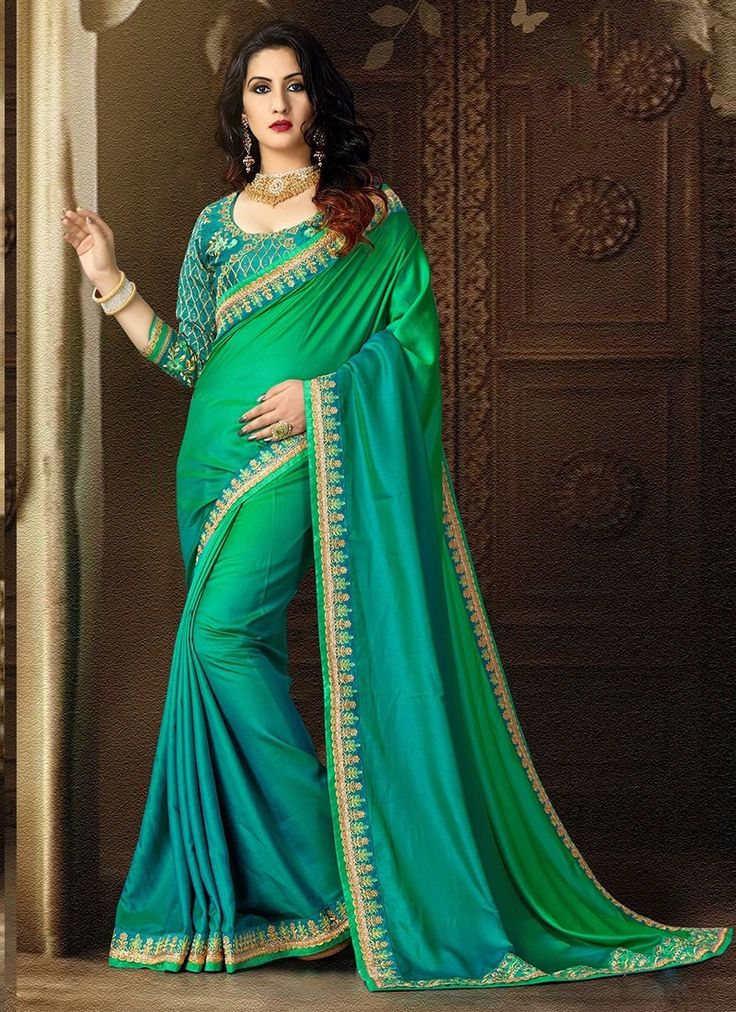 Shop Online Teal Green Satin #DesignerSarees @Chennaistore.com