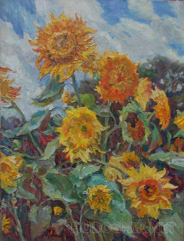 """""""Подсолнухи"""" Подсолнухи написаны теплым светлым сентябрьским днем с натуры в селе. Легкий ветер придает движение и динамику композиции."""
