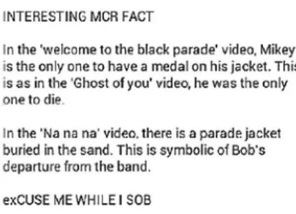 My Chemical Romance Facts *cries whilst remembering how amazing they were and still are*