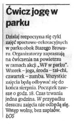 """2013.06.04 Głos Wielkopolski: """"Ćwicz jogę w parku"""""""