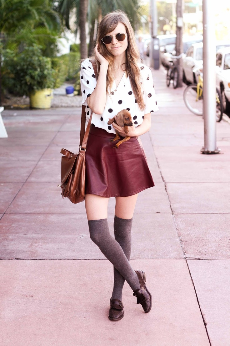 grey wool thigh high socks with burgundy leather skirt and
