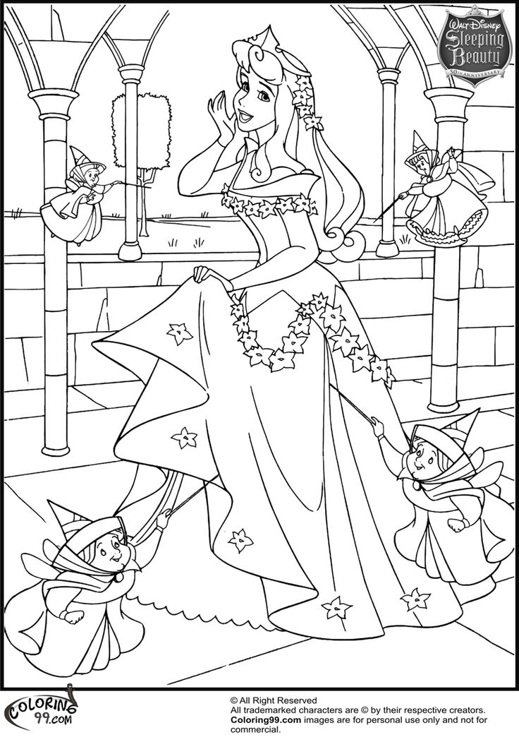 Disney Princess Aurora Coloring Pages Team colors