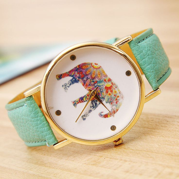 LZ 2015 New Fashion 11 Colors Casual Brand Leather Strap Wristwatch Simple Style Elephant Quartz Watch Women W34