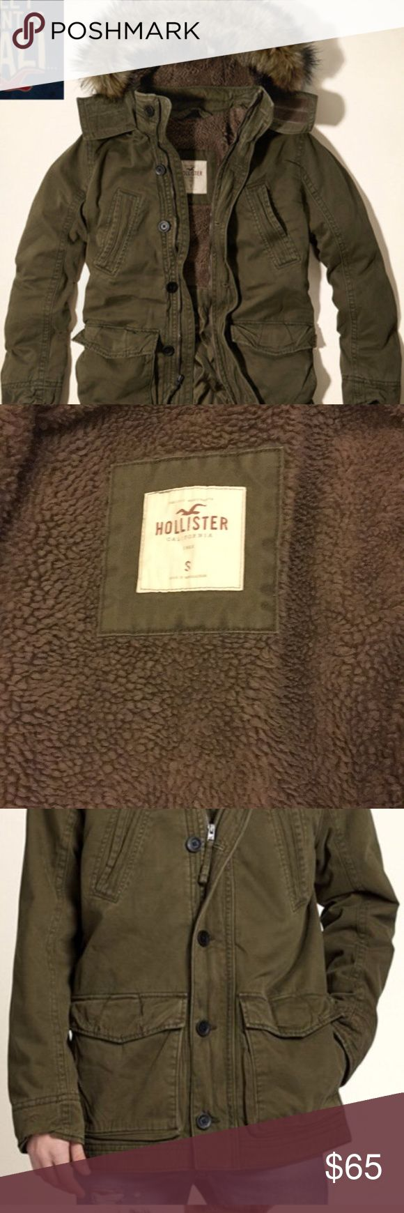 HOLLISTER CO. Parka men's jacket fur hood HOLLISTER CO. Sherpa-Lined Parka men's zip up outer jacket fur hood olive. Men's SMALL  Worn less than 5 times! Washed once. Fur Trim washed by hand. Hollister Jackets & Coats