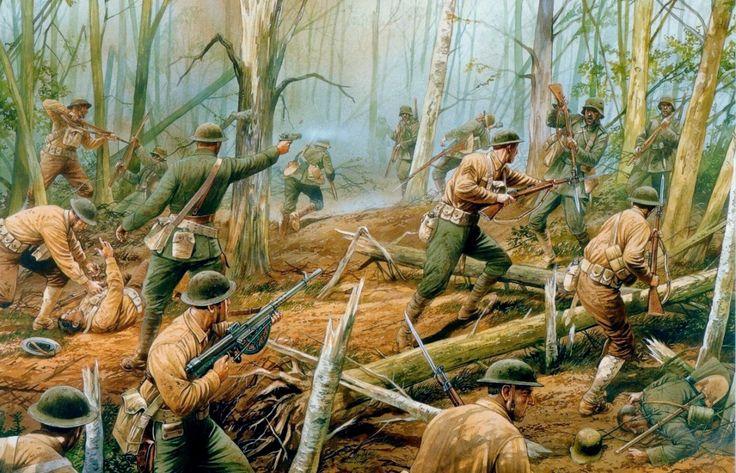 Batalla de Belleau Wood, una de las acciones más enconadas del Cuerpo Expedicionario Estadounidense durante la WWI, en un contraataque llevado en la primera quincena de Junio que terminó por hacerse con el bosque, pero a costa de casi 10.000 bajas, de las que más de 1.800 fueron muertos. Cortesía de Peter Dennis. Más en www.elgrancapitan.org/foro