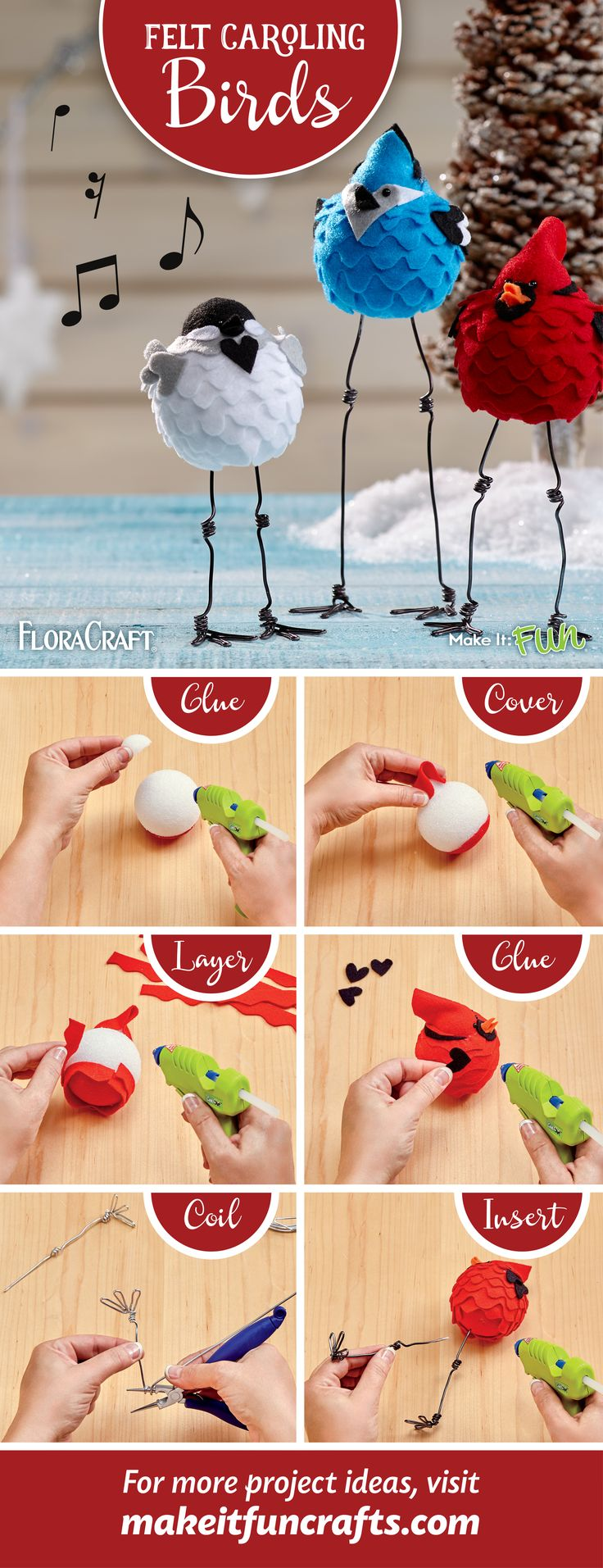 Craft adorable felt birds to complete your holiday mantlescape!                                                                                                                                                                                 More