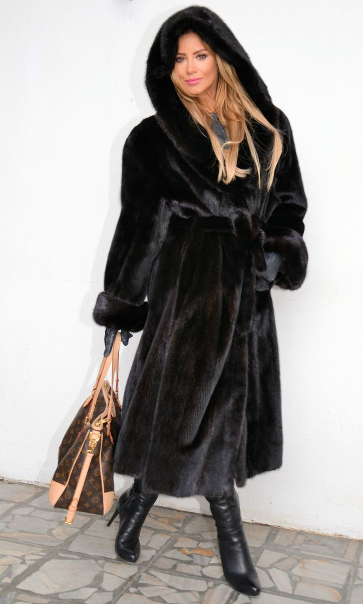 classy black mink with snuggly hood for windy days and sexygirl