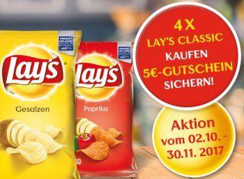 """Tipp: 4 x Lay's Chips bei Rewe.de für 3,96 Euro mit 5 Euro Cashback https://www.discountfan.de/artikel/c_discounter/tipp-4-x-lays-chips-bei-rewe-de-fuer-396-euro-mit-5-euro-cashback.php Chips für lau kann man sich in dieser Woche bei Rewe sichern: Die """"Lay's""""-Packungen sind von 1,59 Euro auf 99 Cent reduziert, obendrein lockt beim Kauf von vier Packungen ein Cashback von fünf Euro – somit bekommt man vier Chipspackungen und 1,04 Euro unter dem Str"""