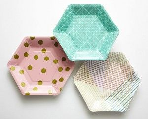 Mixed Geometric Hexagon Dessert Paper Plates - Set of 12 Cakegirls : modern paper plates - pezcame.com