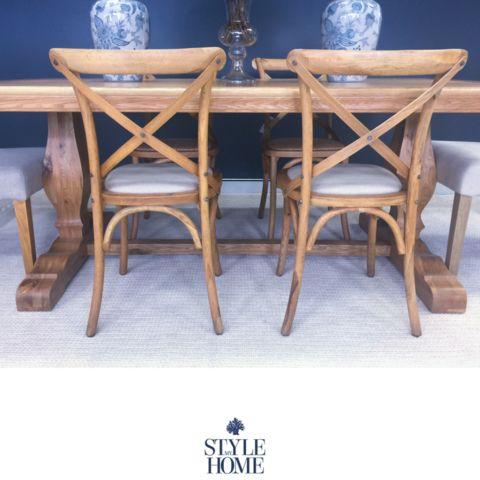 'DAVID' Padded Linen & Oak Cross-back Chair