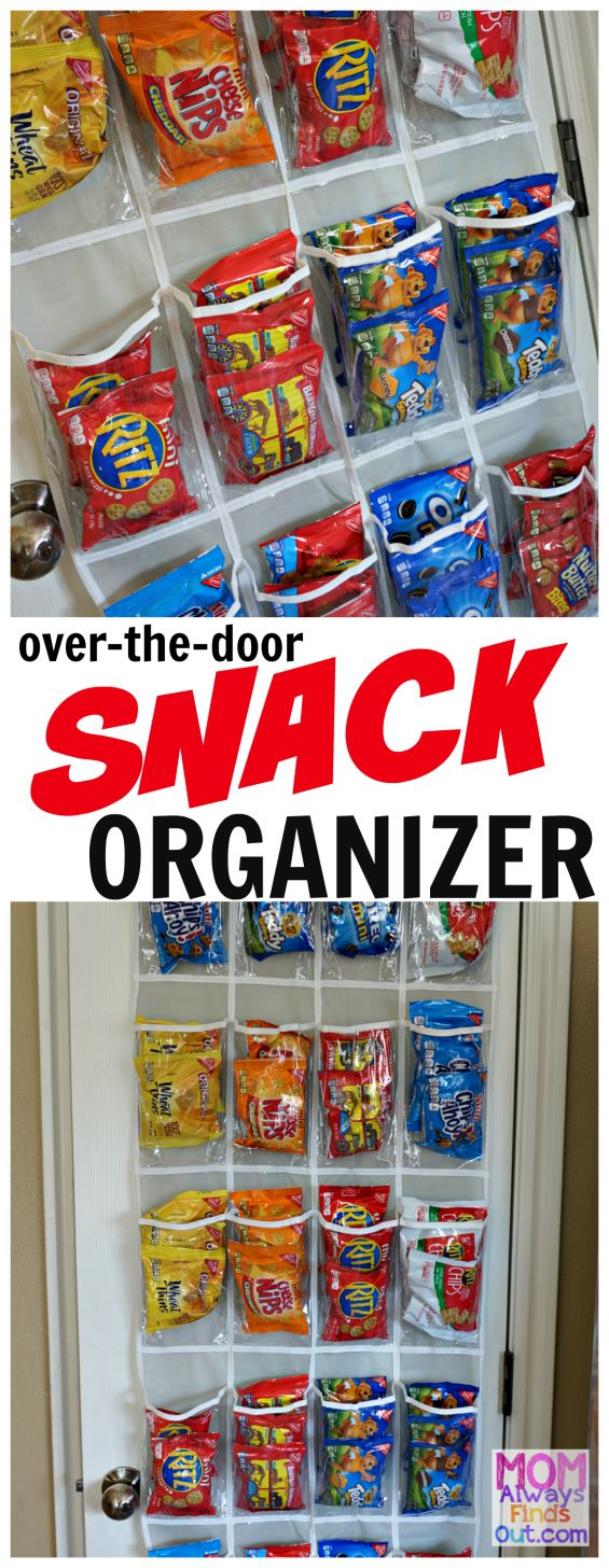 Over-the-Door Snack Organizer. Use a hanging shoe organizer so you can see your snacks at a glance! @momfindsout