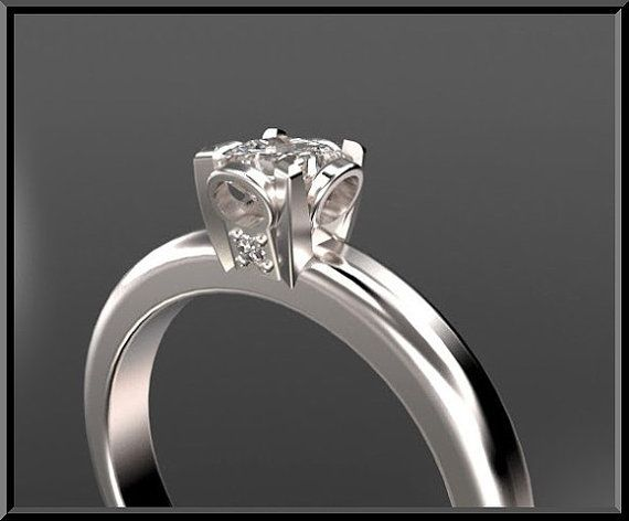 Design 14K Princess cut Diamond Solitaire by Vidarjewelry on Etsy, $1990.00: 14K Princess, Beautiful Engagement Wedding, Solitaire Engagement, Princess Cut Diamonds, Engagement Rings Unique, Ring Designs