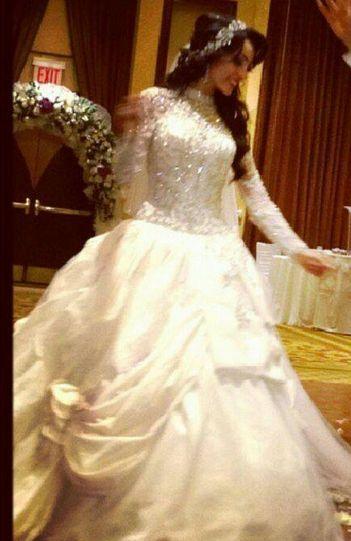 Palestinian bride. Custom made wedding gown