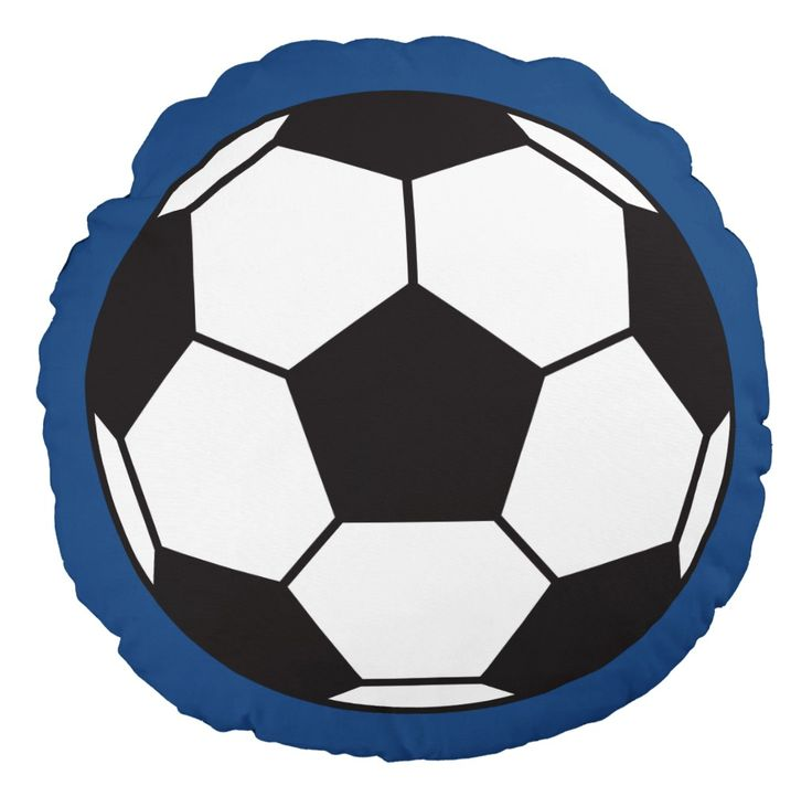 Soccer ball pillow. Black and white soccer ball (European football) on a blue background. Ideal for a soccer themed nursery or older kids room