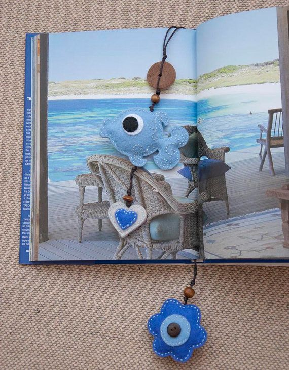 Blue fish with a flower and a heart felt bookmark by suyika http://www.etsy.com/shop/suyika?ref=si_shop