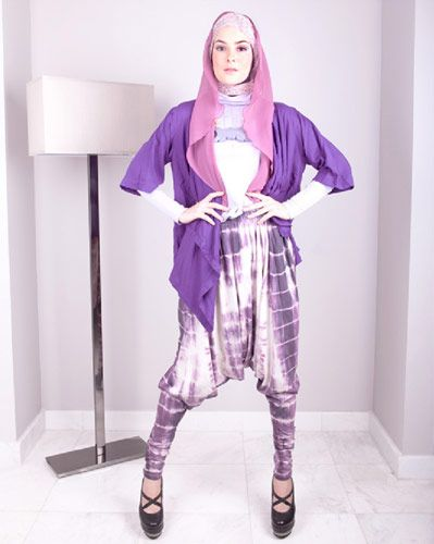 Pretty Pastels | Purple long-sleeved shirt and purple cotton kimono by Malana | Tie-dye Jodhpurs by Kami Idea | Purple 'moustache' necklace by Antyk Butyk Purple floral shawl by Kyuza | Purple chiffon vest worn as hijab by GDa'S by Ghaida | Cross-strapped platforms by Adeeva Shoes