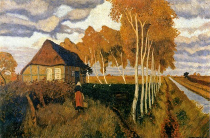 Otto Modersohn 1865-1943, Moorkate mit Birkenallee. 1897.