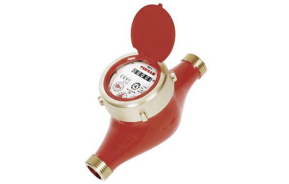 Mekanik ön ödemeli ev tipi sıcak su sayacı.