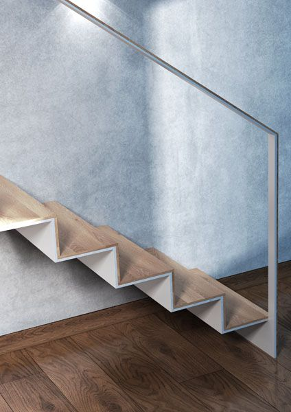 INTERIOR PISARKY  7.780,- EUR  DESIGN  Sandwich-like construction with a sophisticated way of baluster mounting. Simple as it can be - all metal parts made of 10mm thick steel sheet, wooden panelling made of 20mm thick edge glued board. Nothing more. TYPE OF STAIRS  clamped into the wall MATERIAL  white lacquered welded steel sheet, oak treads
