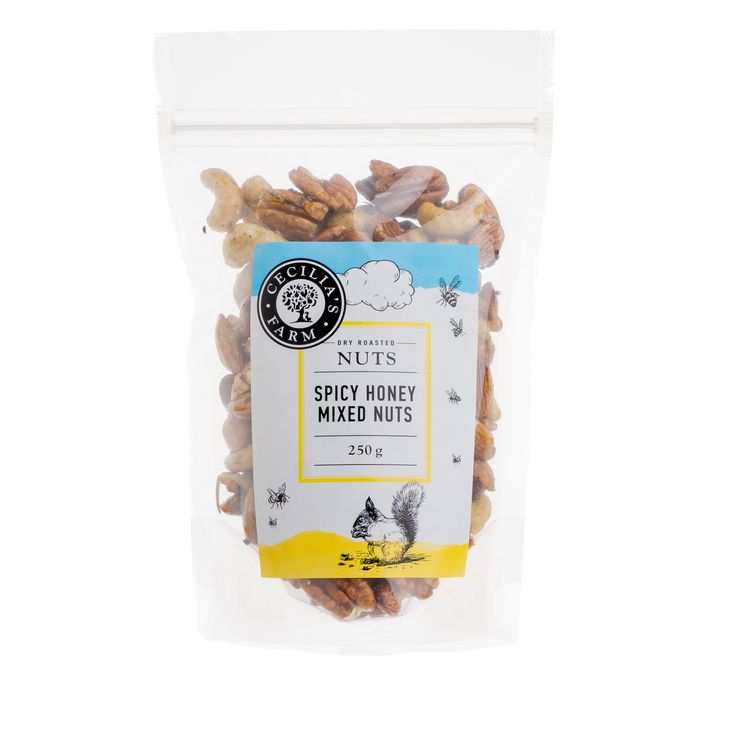 After being roasted in a salt bed, some of our mixed nuts are also treated to a secret blend of honey, rosemary, black and cayenne pepper and turned into our very popular spicy honey mixed nuts which are so moreish, it's almost impossible to stop eating them once you start! http://ceciliasfarm.co.za/product/spicy-honey-mixed-nuts/
